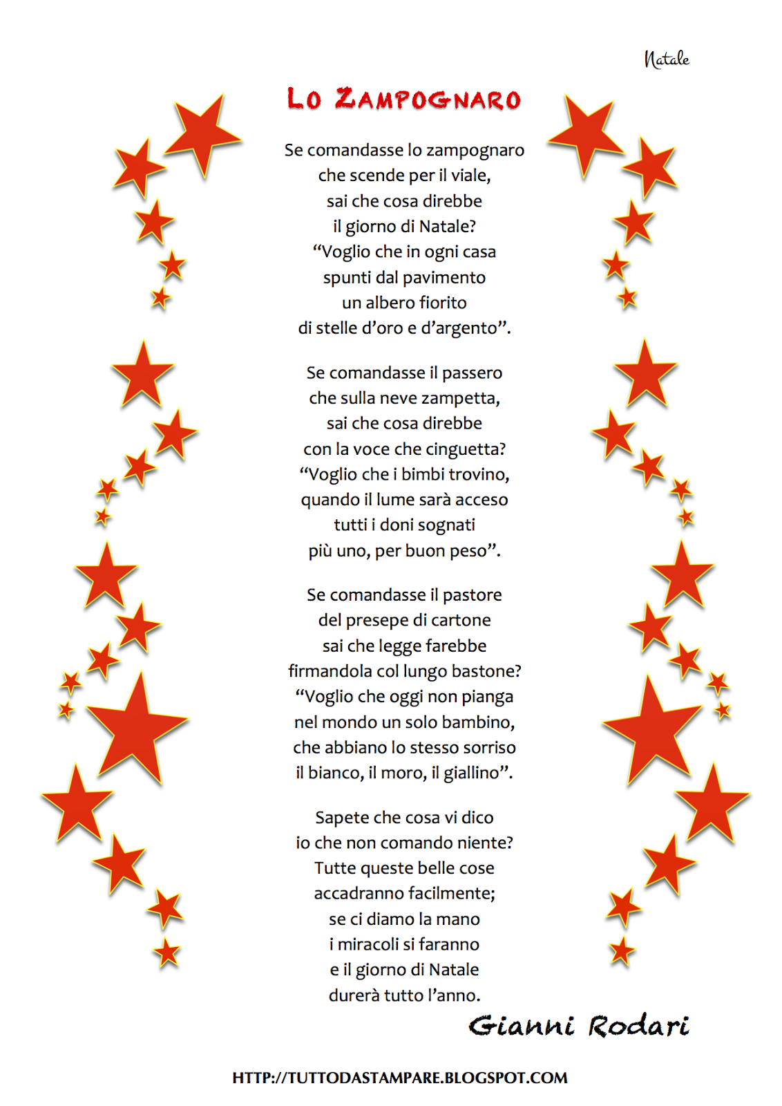Poesie Di Natale Per Bambini Da Stampare.Poesie Di Natale Lo Zampognaro Di Gianni Rodari Tutto Da