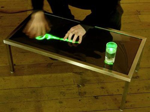 The geeky coffee table that responds to touch.