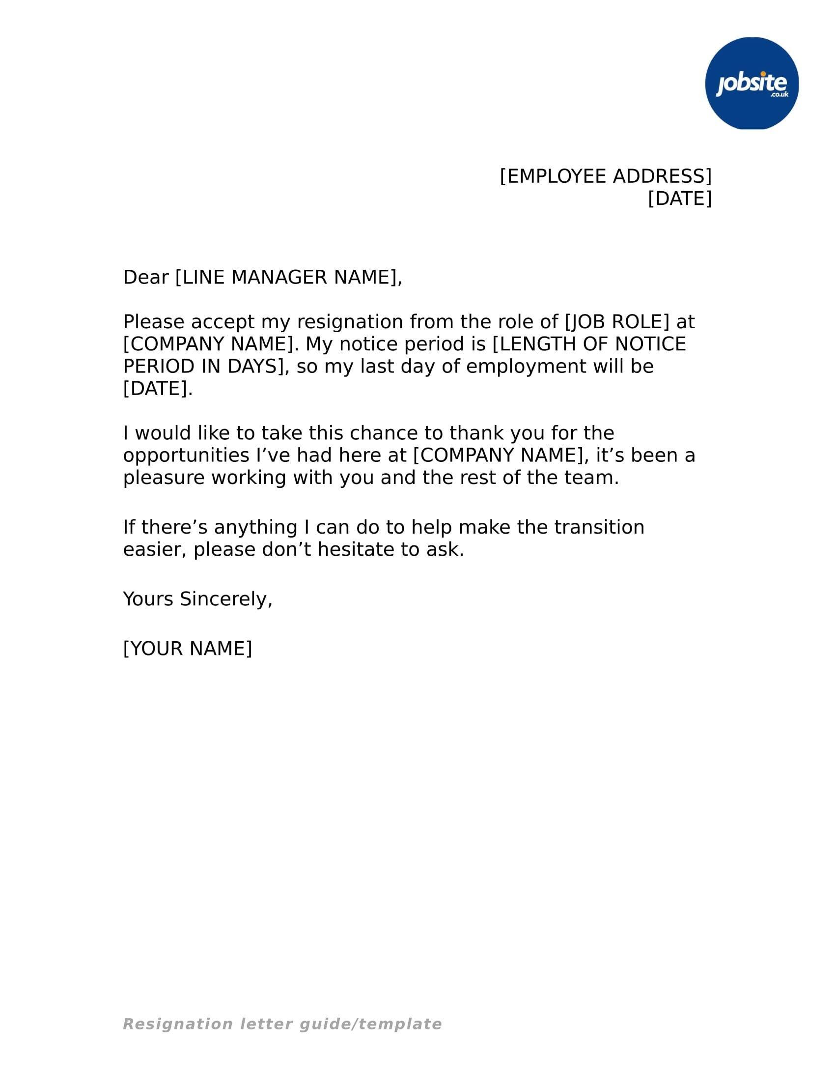 New Job Region Letter Resignation letter sample