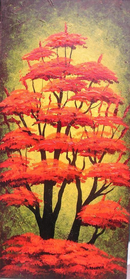 RED trees Original textured painting by Jordanka by treeartist