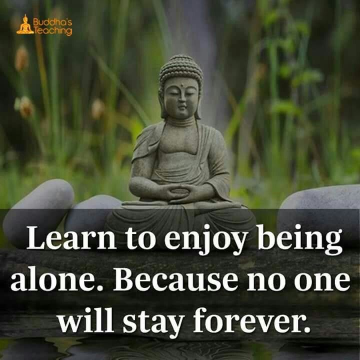 Learn To Enjoy Being Alone Because No One Will Stay Forever Buddhism Quote Buddha Quotes Inspirational Meditation Quotes