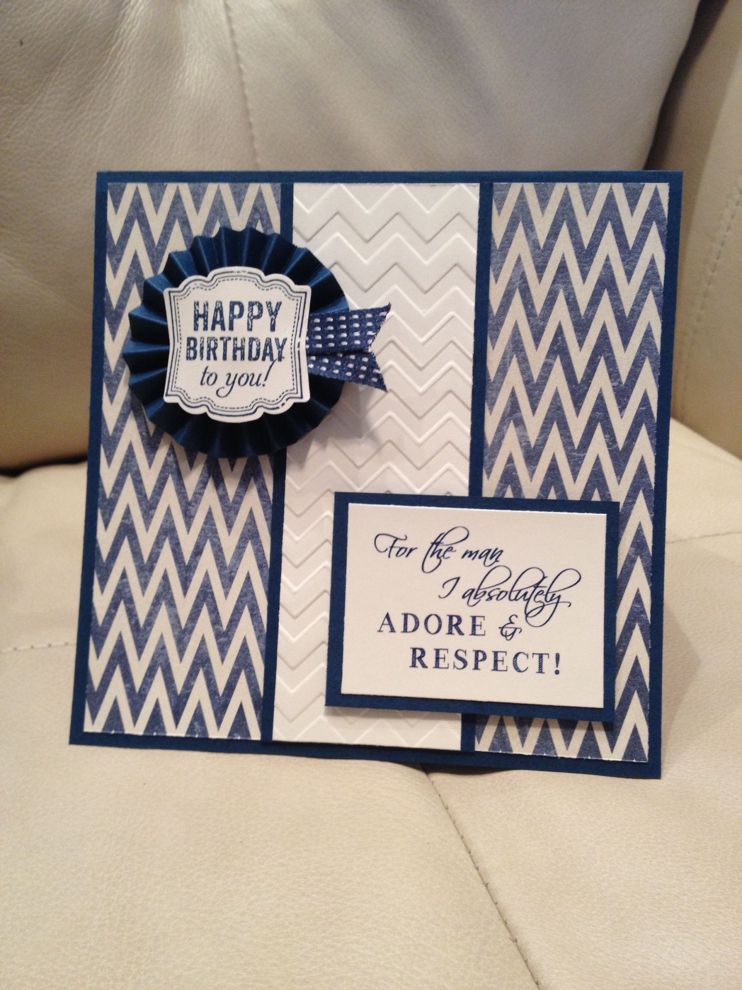 Stampin Up Handmade Birthday Card For Husband Used Stampin Up