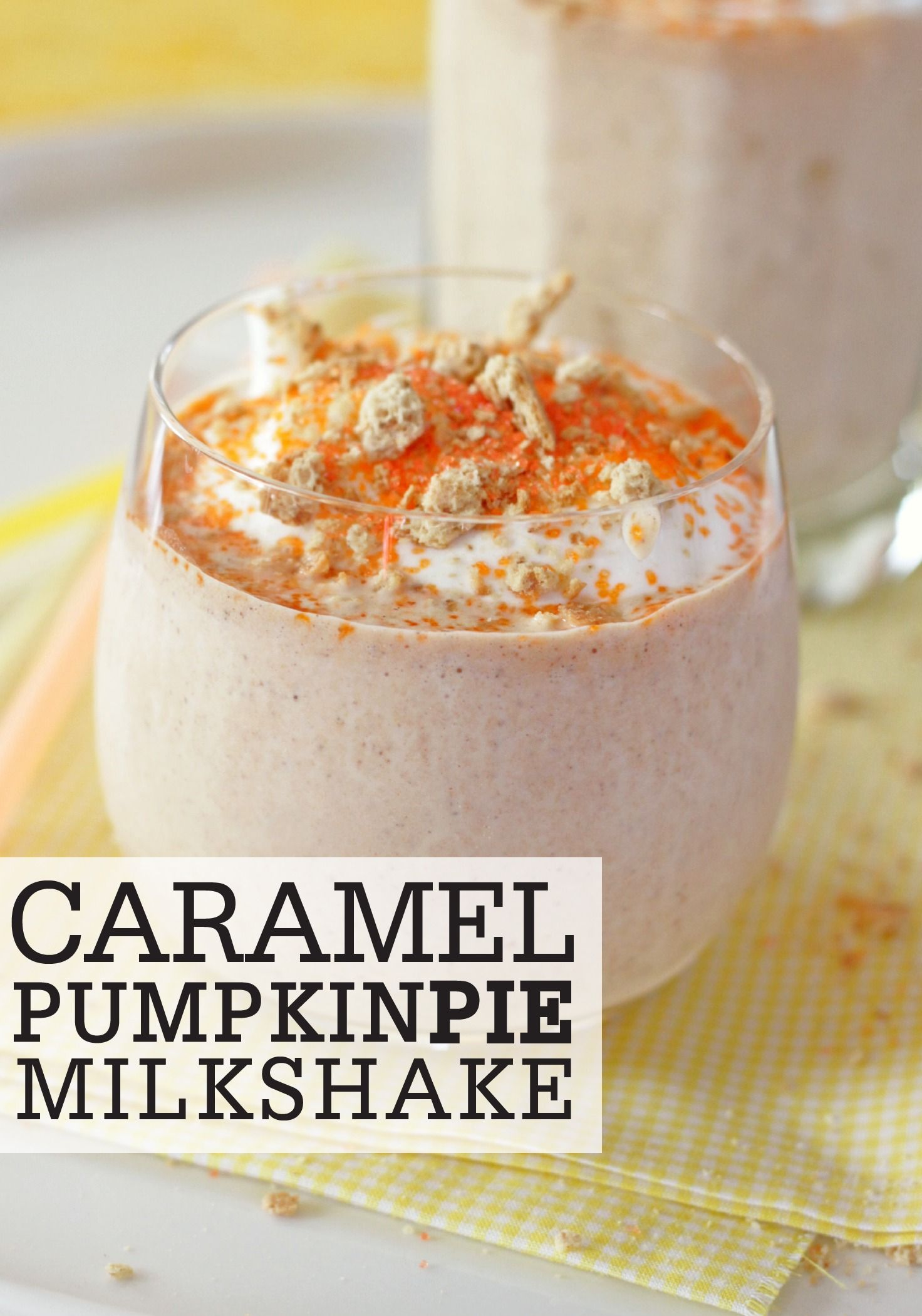 This Caramel Pumpkin Pie Milkshake recipe is a delightfully creamy, seasonal snack to give your kids as a special after-school snack!