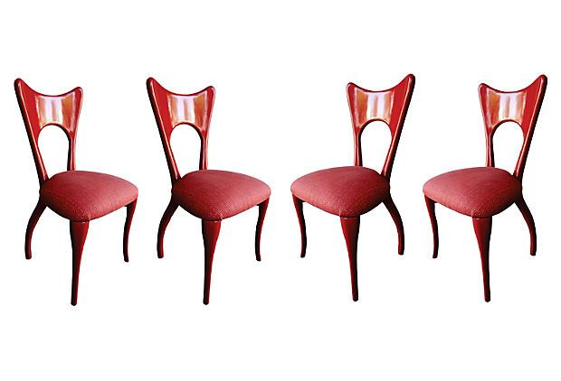Red Laquered Dining Chairs, S/4 on OneKingsLane.com