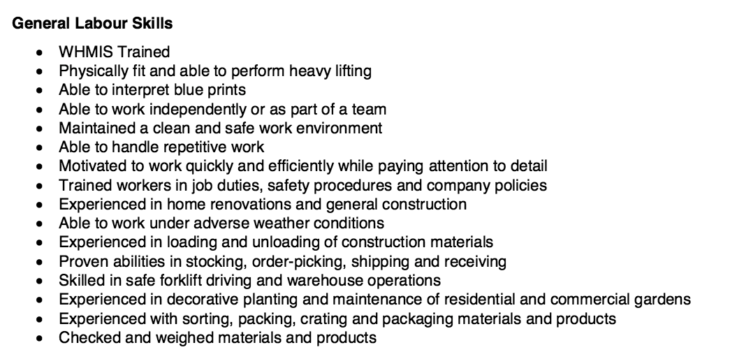 general construction resume objective examples