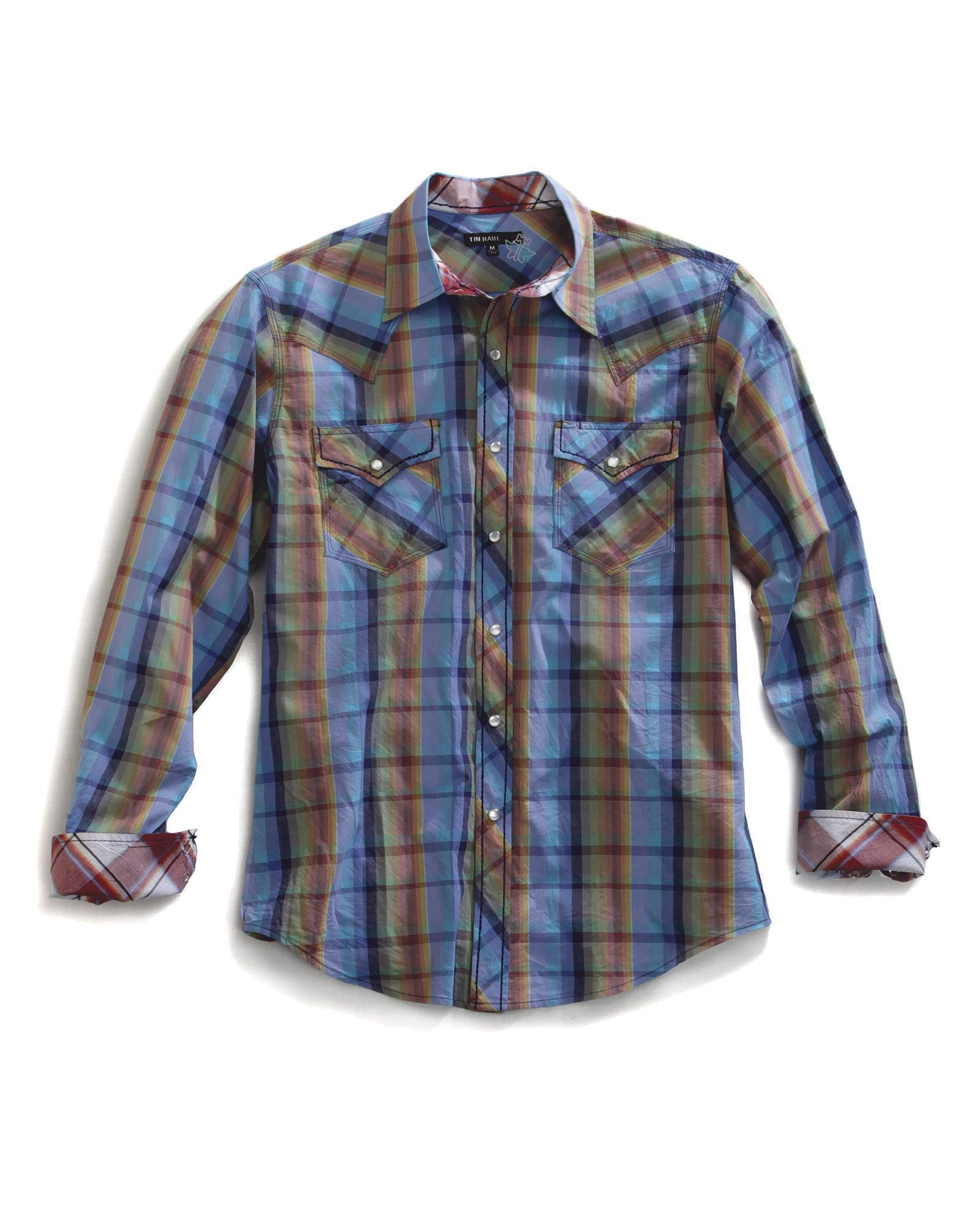 Purple flannel men  Tin Haul Mens Blue  Cotton LS TH Color Plaid Snap Western Shirt