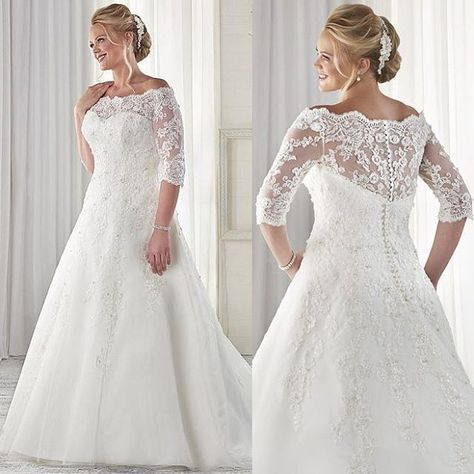 Plus size wedding dresses with long sheer lace sleeves can be made ...