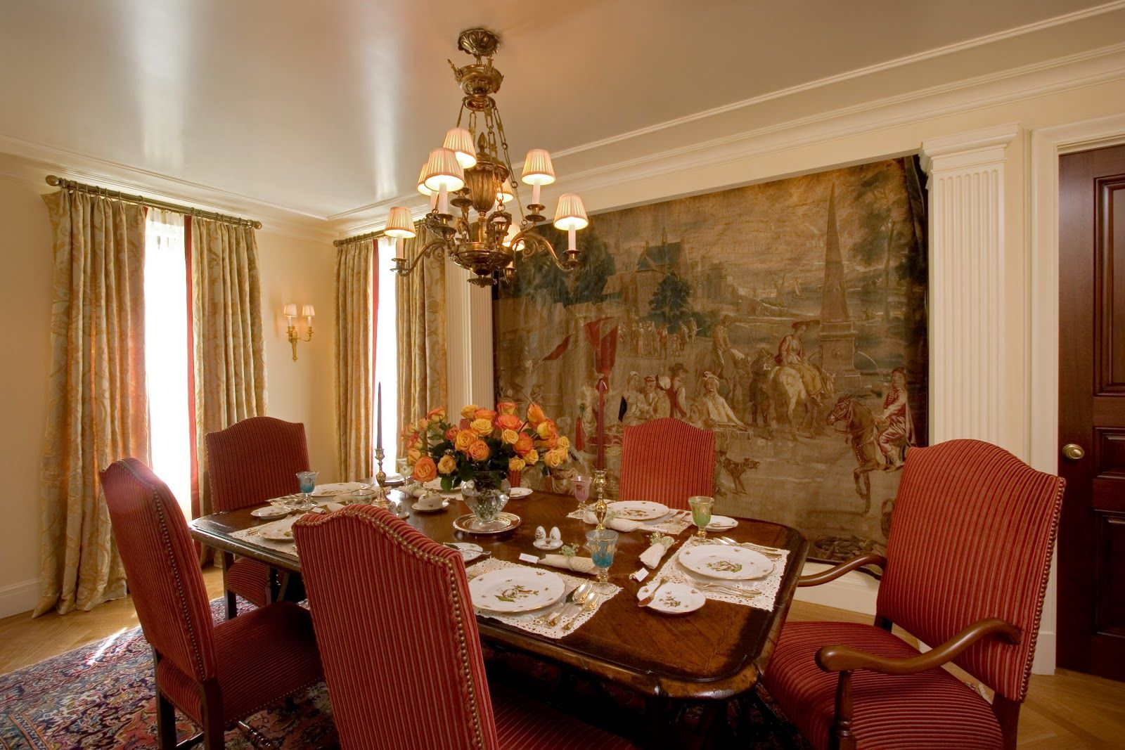 Dining room luxurious dining room design with wide for Unique dining room wall decor