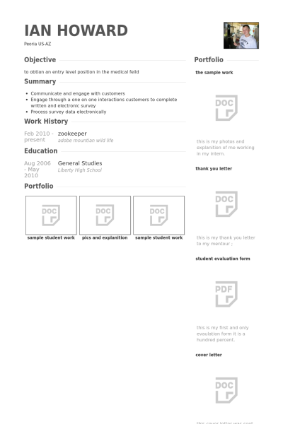 resume example for zookeeper 4 resume examples pinterest