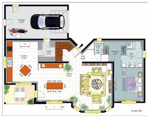 Plan maison 200m2 tab2 pinterest for Plan de maison 200m2