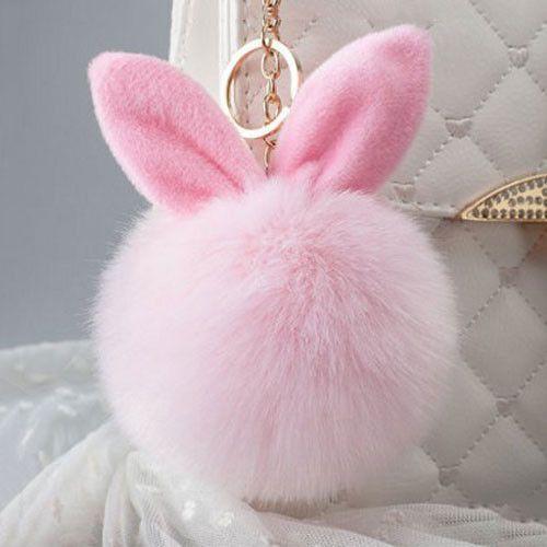 0814e4d7a46a New Fur Pom Pom Keychain Fluffy Bunny Rabbit Fur Keychain for Women Bag  Charm Rabbit Ears Key Chain Car Key Ring Keychains QC06