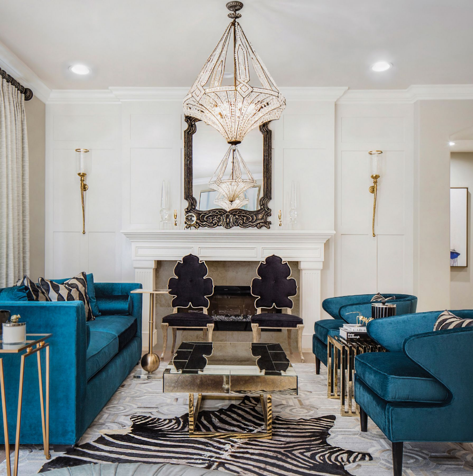 Stunning Teal Velvet Seating Is Perfectly Enhanced By Modern Art Deco Vibes In T Contemporary Interior Design Living Room Luxe Living Room Art Deco Living Room