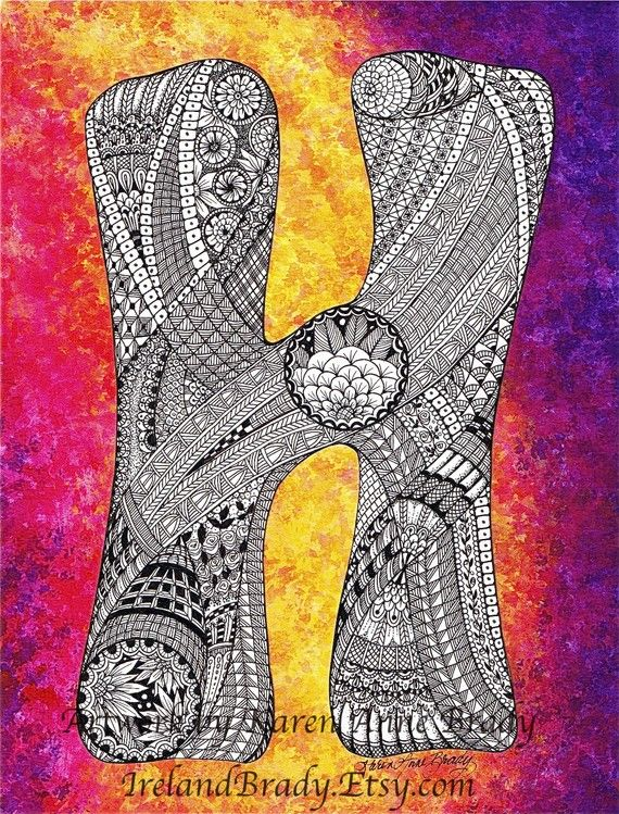 ACEO+Alphabet+Letter+H+zentangle+doodle+initial+by+IrelandBrady,+$1.00