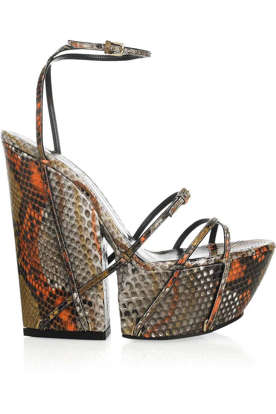2939f499aef YSL python wedge. | STYLE | Leather wedge sandals, Designer sandals ...