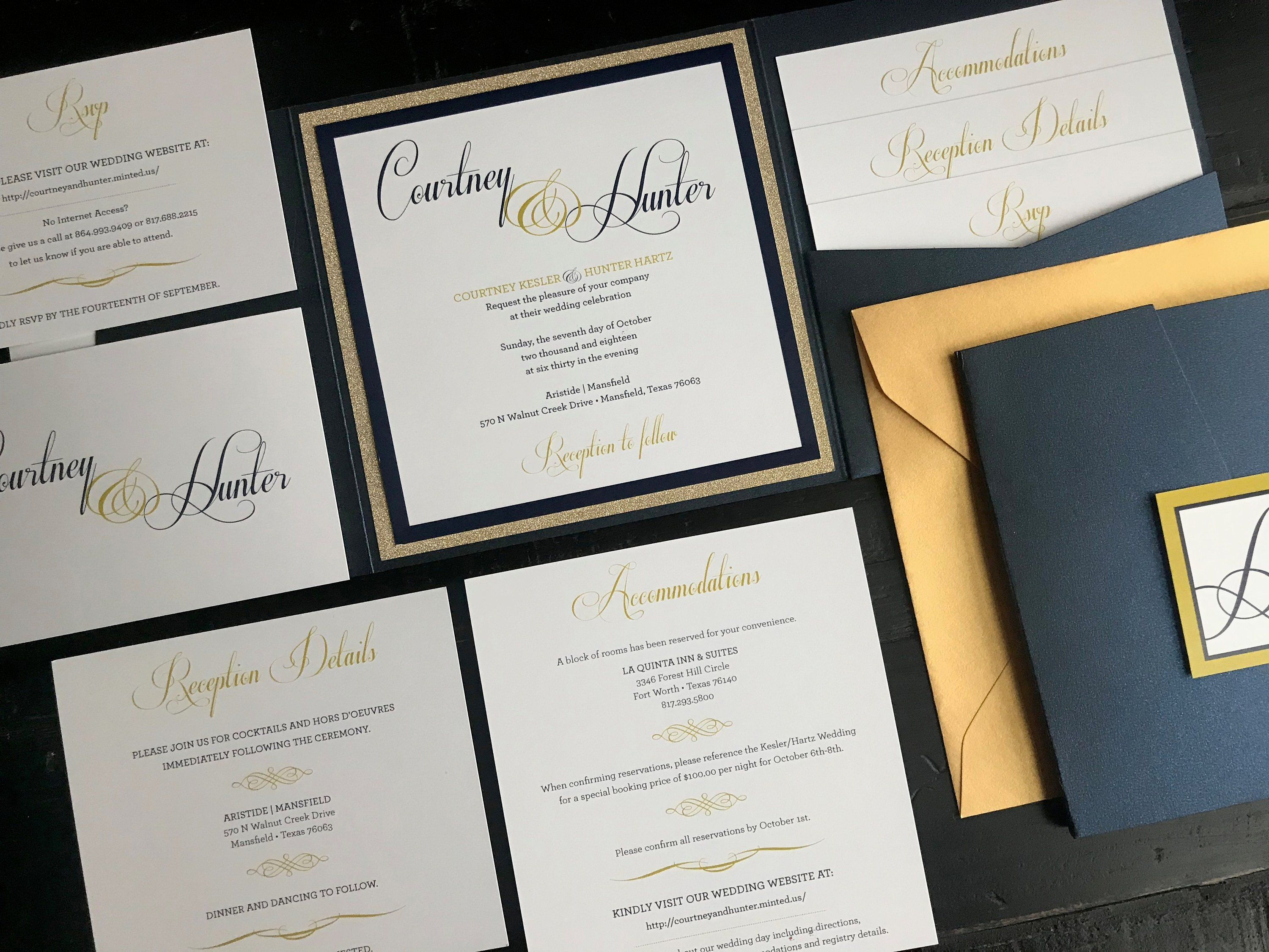 Metallic Navy Glitter Gold Pocket Wedding Invitation