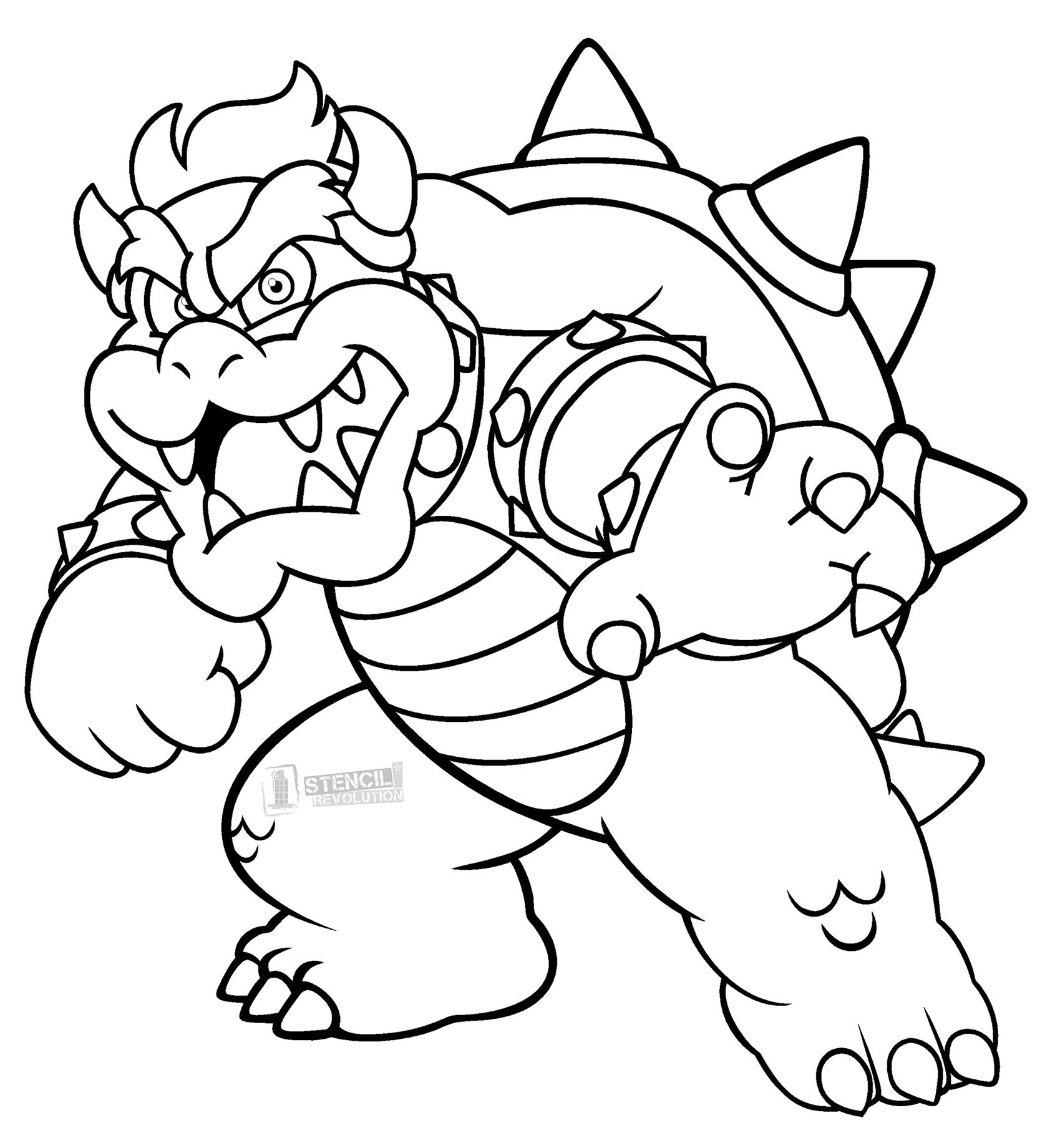 Bowser Stencils | Bowser, Stenciling and Printable stencils