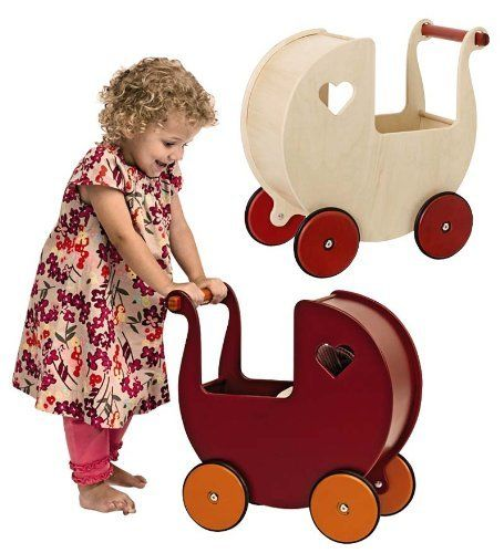 Toys For 7 Months And Up : Moover danish style sturdy wooden doll pram in red by