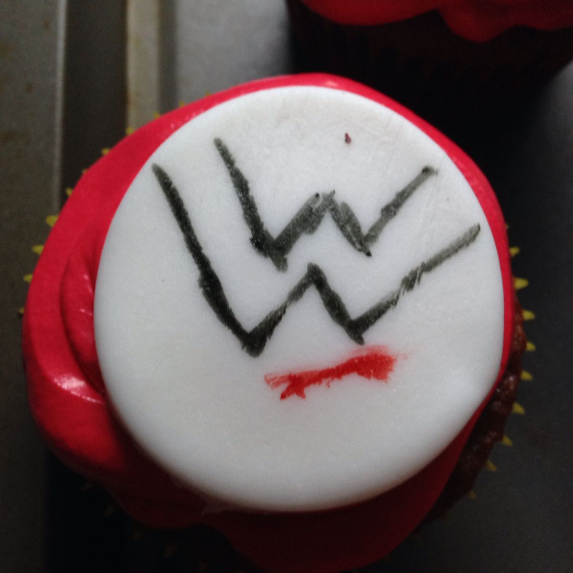 WWE cupcakes for bros bday  Homade red velvet