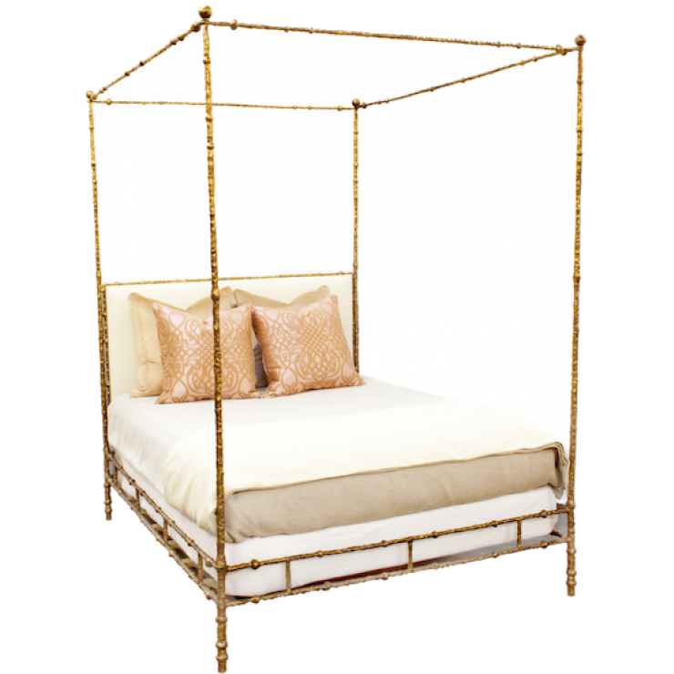 Beautiful Textured Four Poster Bed With Upholstered Headboard From Oly.