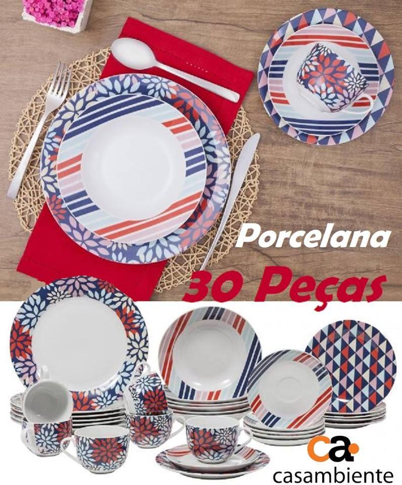 Aparelho De Jantar 30 Pecas Casambiente Redondo Porcelana