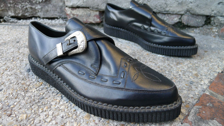 Men's size 13 vintage CREEPERS Nana Shoes DEADSTOCK black western monk  creeper platform shoe n.o.s. rockabilly punk shoes