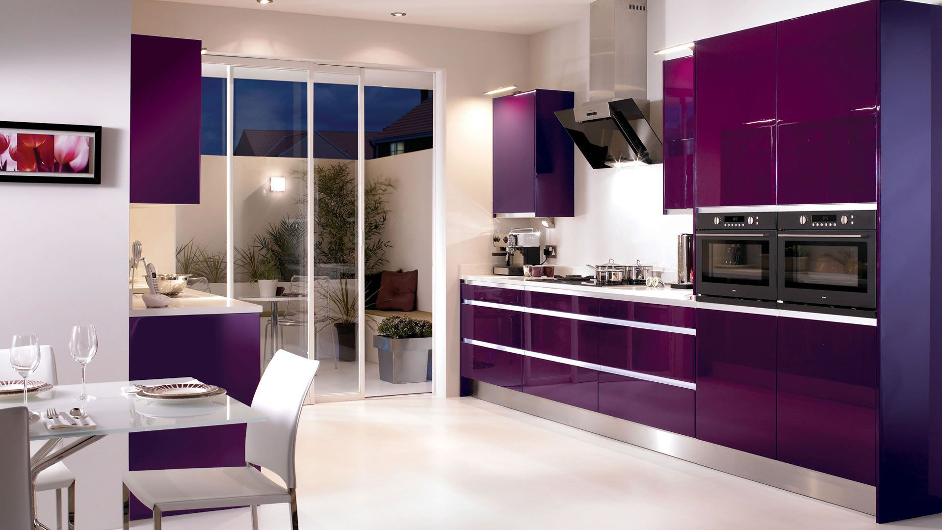Saturn Cassis This High Gloss Lacquered Kitchen Comes Complete With An Integrated Metal Handl Purple Kitchen Designs Purple Kitchen Purple Kitchen Appliances