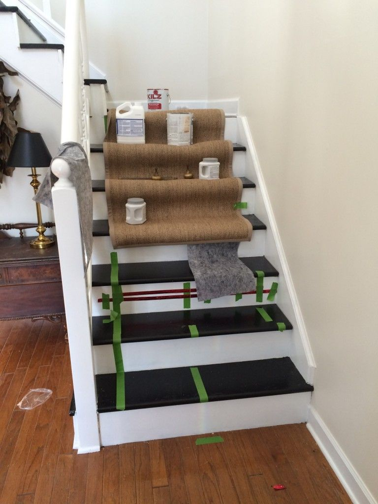 Staircase Renew With Paint And Ikea Jute Runner From
