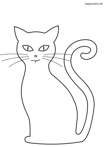 Silhouette Katze Ausmalbild Katze Zum Ausmalen Ausmalen Malvorlage Katze