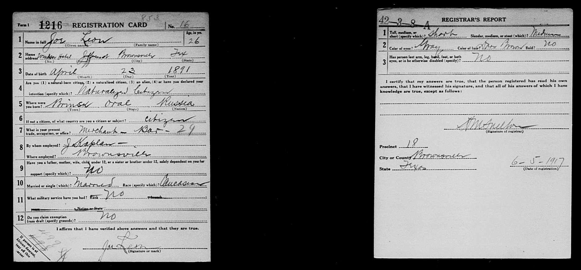 "Joe Leon, ""United States World War I Draft Registration"