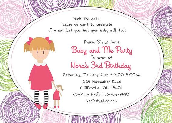 Baby Doll Birthday Party Invitations Option to by PaisleyPrintsEtc – Doll Party Invitations