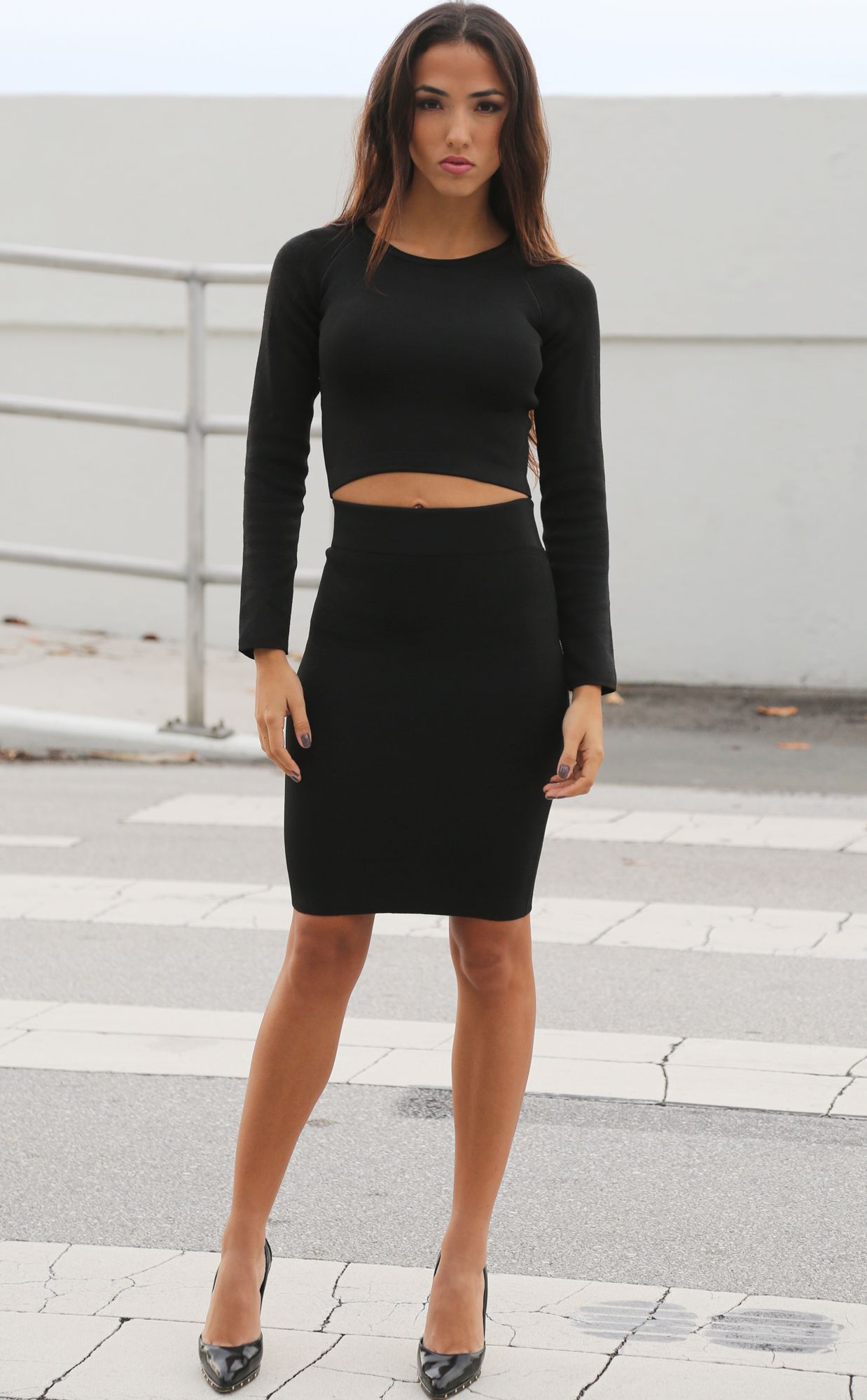 Black Skirt With Top - Dress Ala