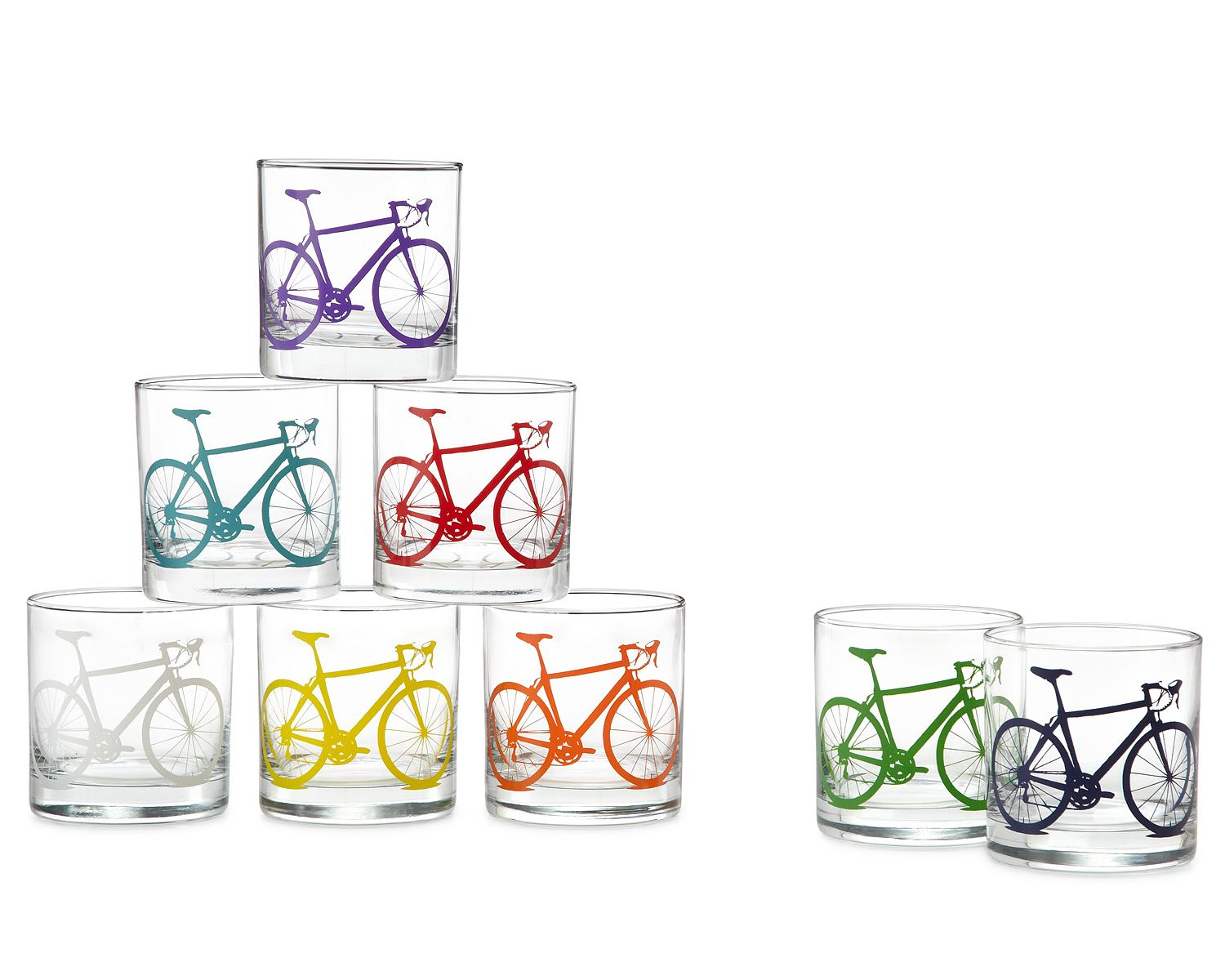 BICYCLE GLASSES - SET OF 8 | Drinking Glasses for Cyclists | UncommonGoods