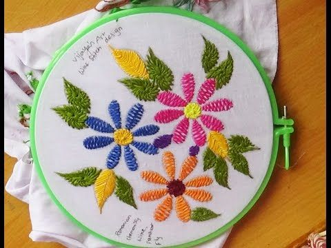 Hand Embroidery Romanian Stitch Flowers And Fish Bone Leaves Leisha S Galaxy Youtub Hand Embroidery Designs Hand Embroidery Flowers Hand Embroidery Videos