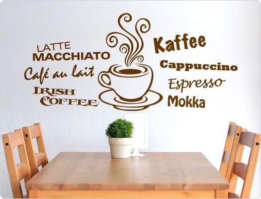 wandtattoo kaffee lustige kaffee spr che und motive f r die k che pinterest. Black Bedroom Furniture Sets. Home Design Ideas