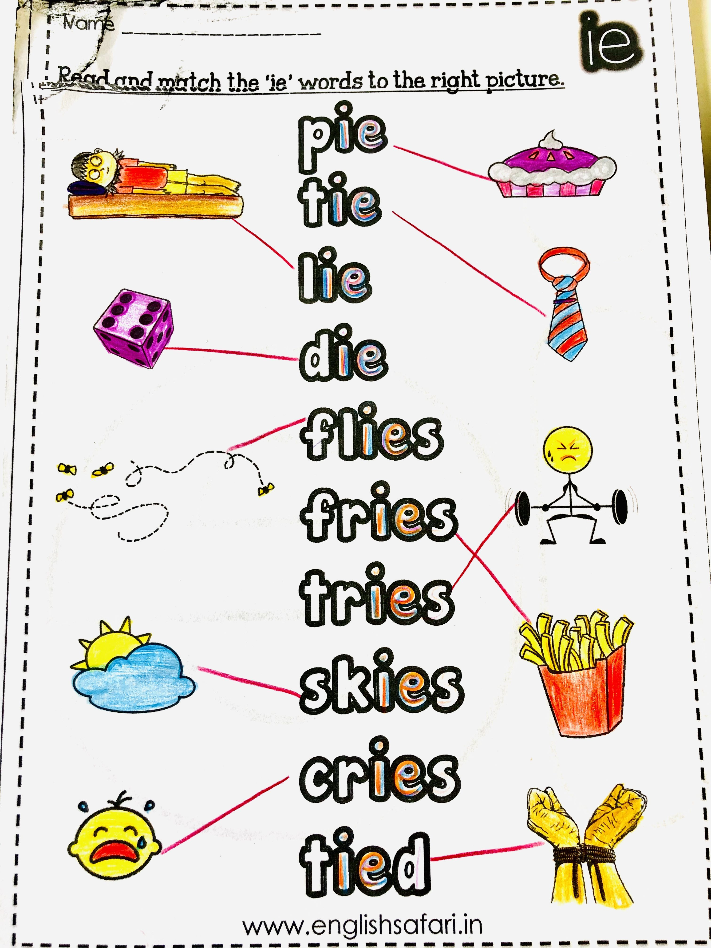 Match The Ie Words With The Pictures In This Long Vowel I