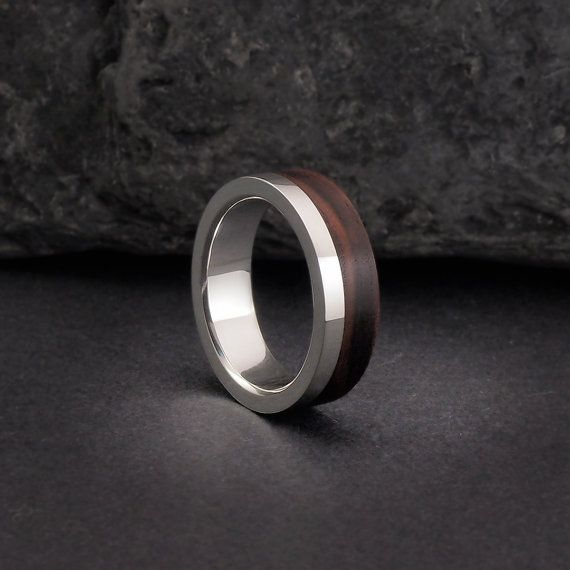 Wooden ring or wood wedding bands, sterling silver and kingwood wood ...