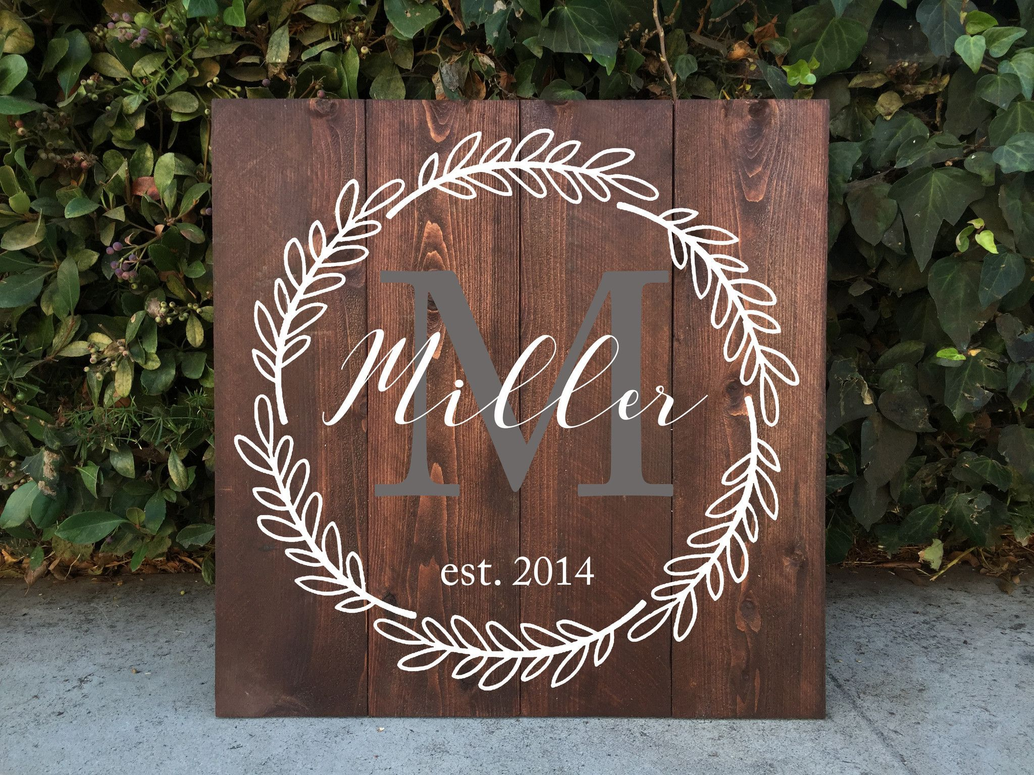 Family Monogram Wooden Sign Rustic Home Decor Crest