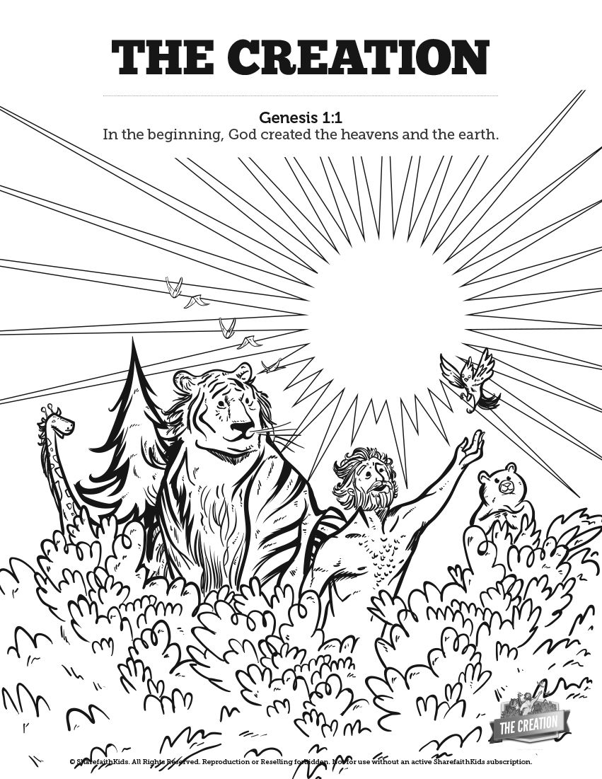 The Creation Story Sunday School Coloring Pages: Your kids ...