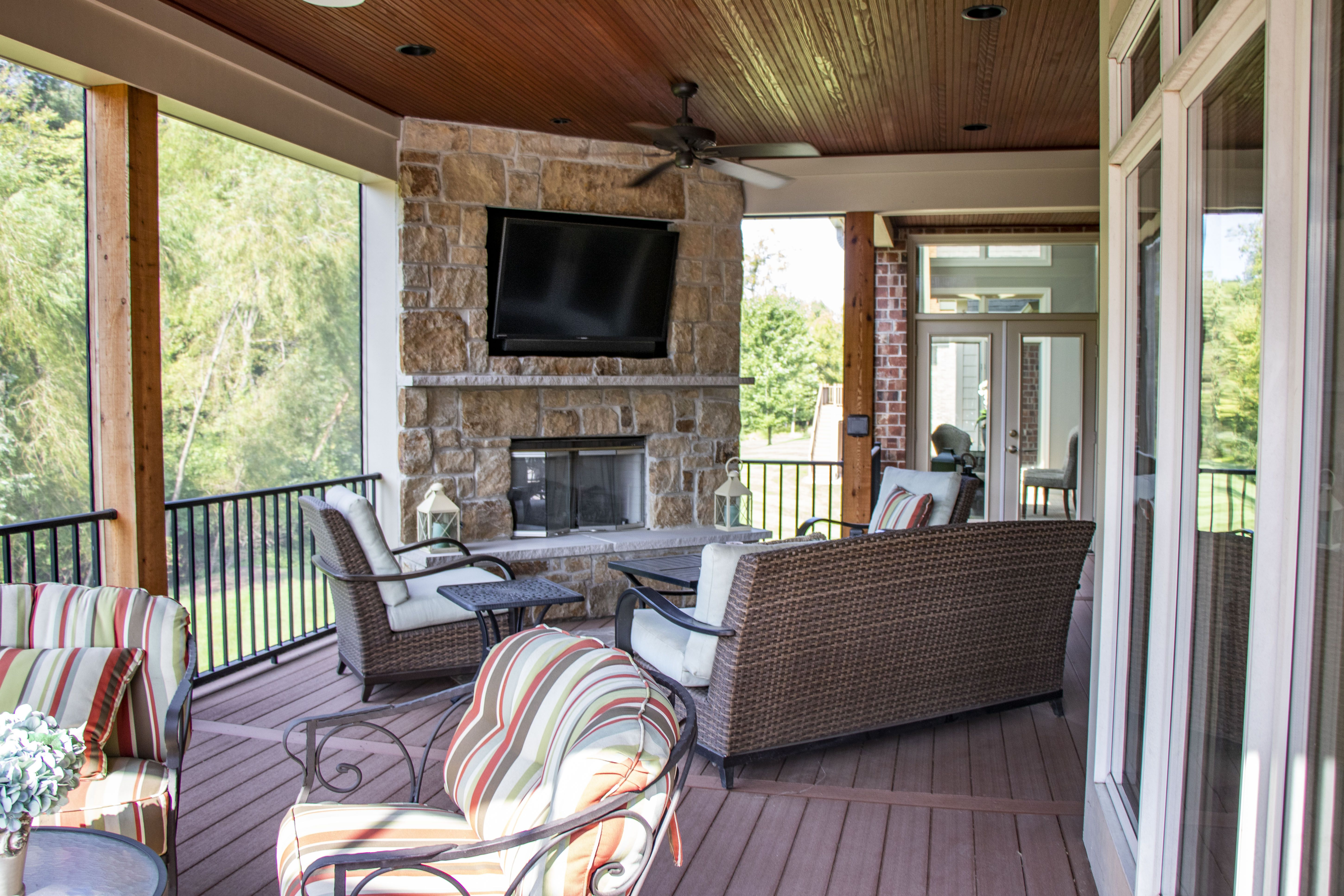 Beautiful outdoor living room with a fireplace feature ... on Building Outdoor Living Space id=15571