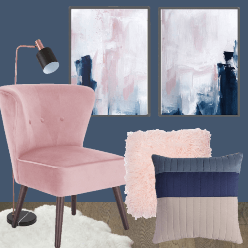 navy blue and pink bedroom inspiration  budget home