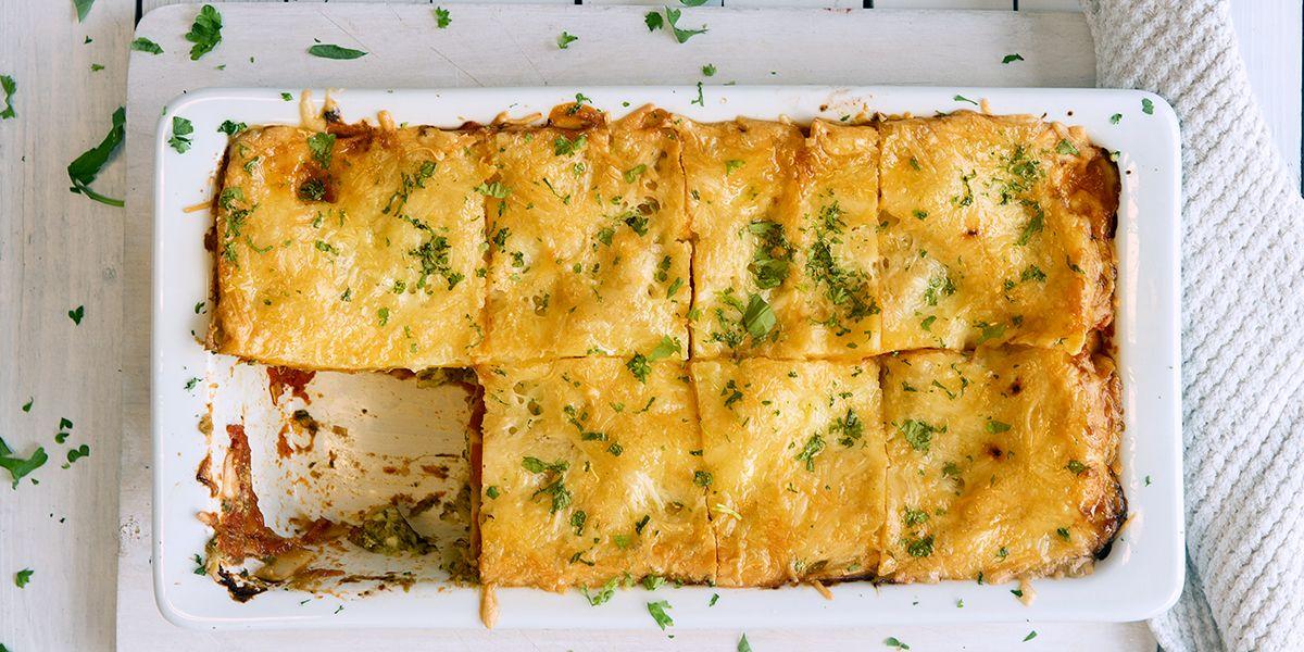 Vegetarlasagne Med Spinat Og Cottage Cheese Coop Mega Vegetarianske Oppskrifter Gronnsaker Mat Og Drikke
