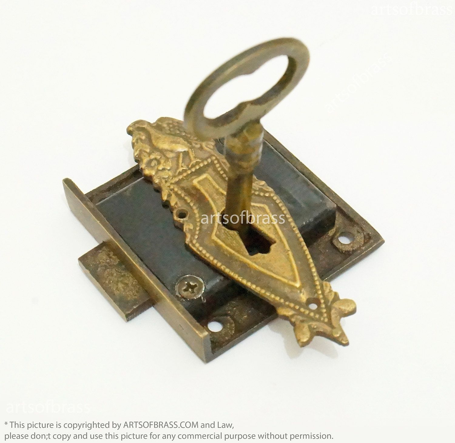 Antique Brass Victorian Shield Key Hole Plate with Set Vintage