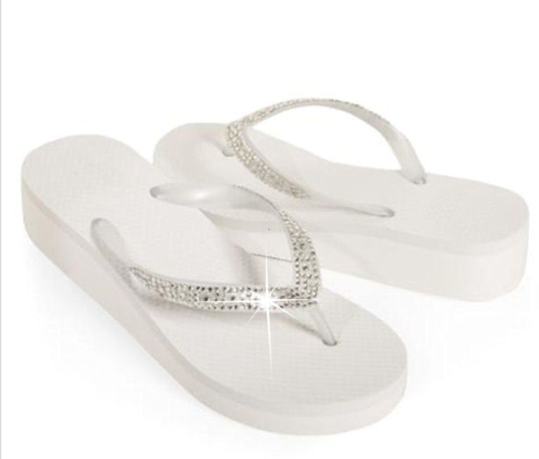 1fac678fd3b42b Rhinestone Flip Flops in White or Black - Perfect Wedding Flip Flops  19.95