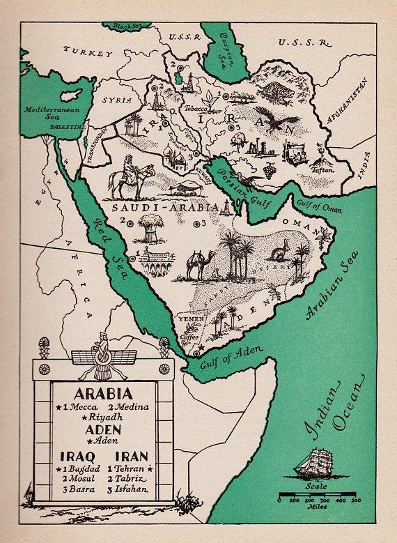 1940 S Arabia Picture Map Of Saudi Arabia Print Map Of Iran And Iraq