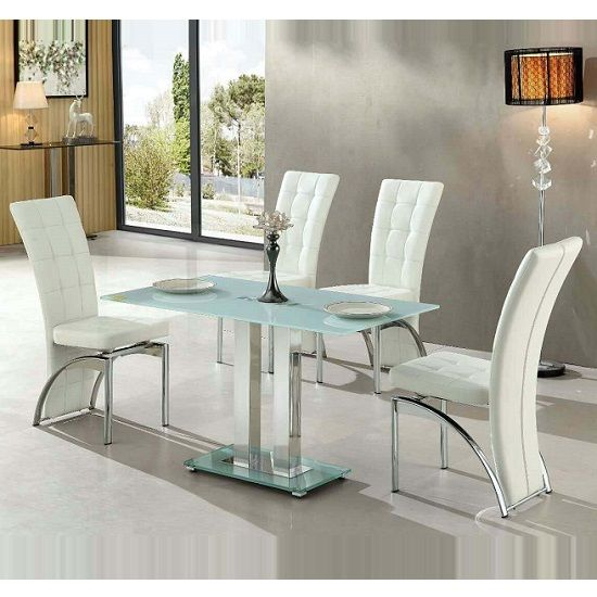 Jet Small Dining Table Rectangular In White Glass With 4 Ravenna White  Dining Chairs, This Dining Set Will Give Luxurious Style To Your Dining  Room Finish: ...