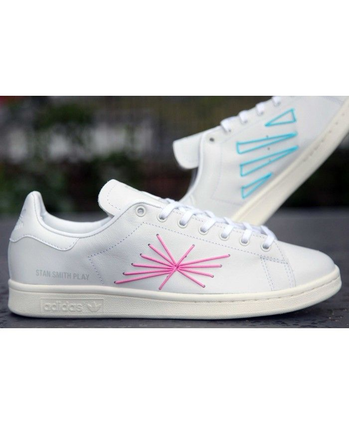 Adidas Consortium Stan Smith Play Trainers In Pink Green