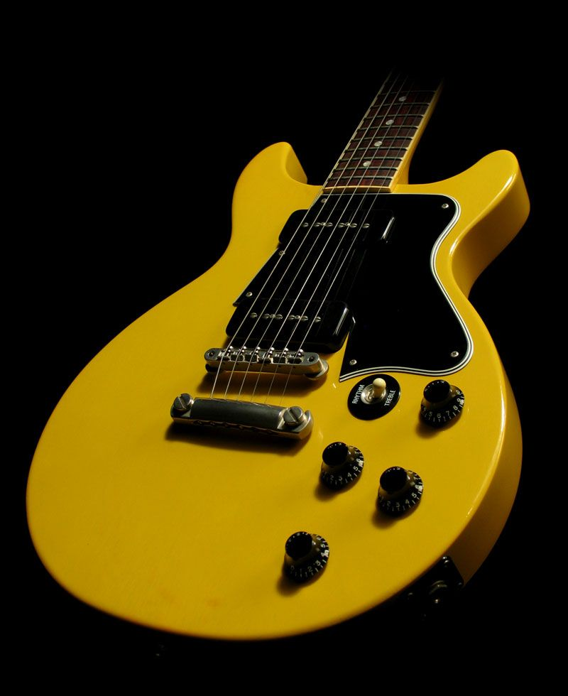 tv yellow. gibson les paul double cutaway in tv yellow tv a