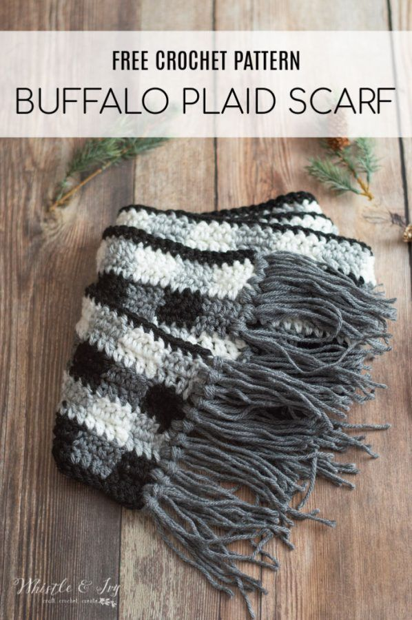 Crochet Buffalo Plaid Scarf - Free Crochet Pattern #crochetscarves