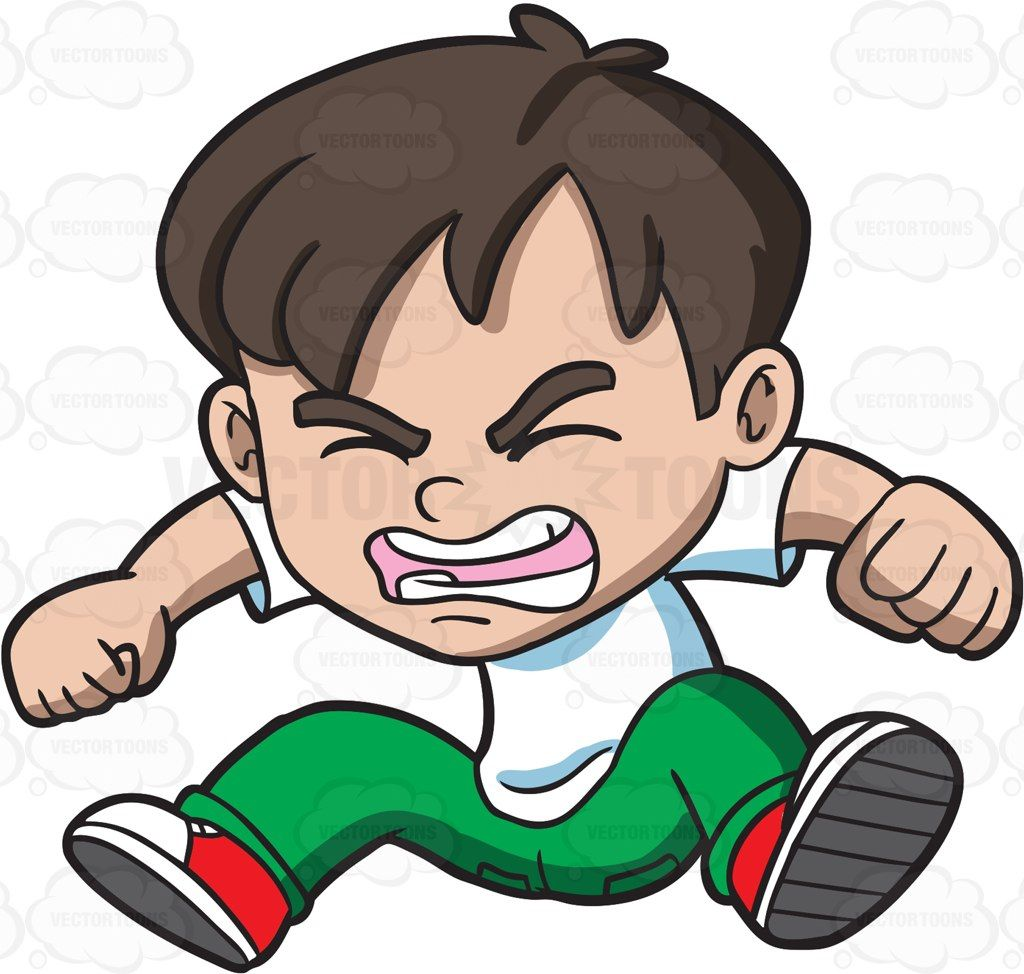 An Angry Little Boy Jumping In Frustration Kid Clipart