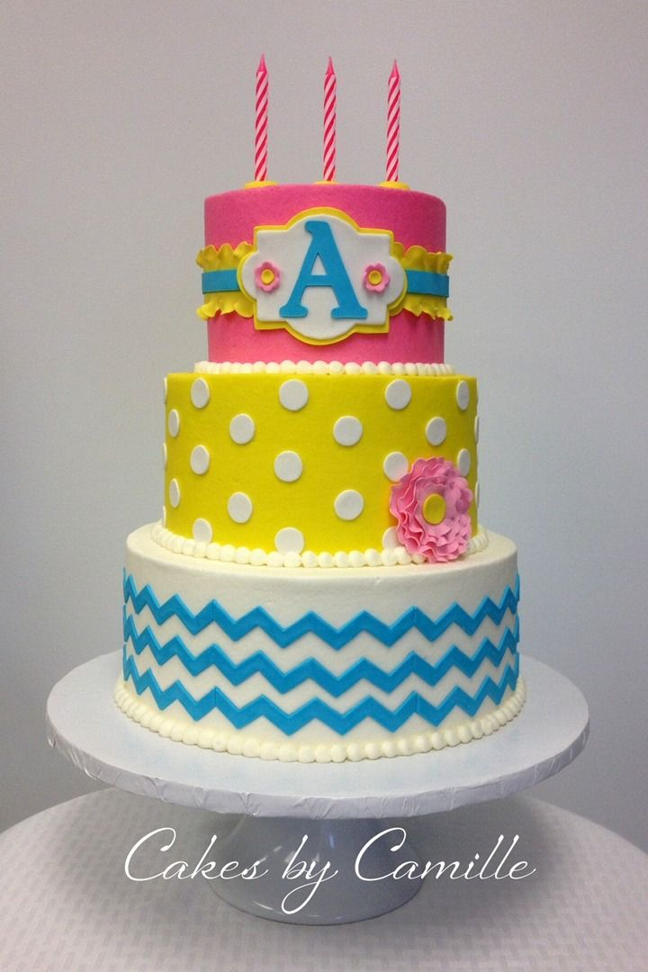 Chevron and polka dot girly birthday cake Pink yellow blue chevron